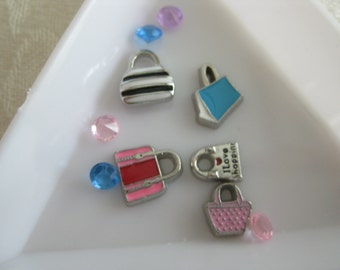 S6 Charms for Memory locket Jewelry Floating Charms Jewelry set of 5 charms and 5 gems PURSES, PURSES and PURSES
