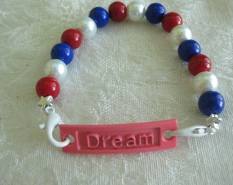 """Interchangeable Charms for DIY bracelets/Buy 1 or many/interchange to match your wardrobe """"DREAM""""/patriotic choose style"""