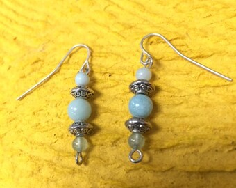 Blue Topaz and Aquamarine Sterling Silver Earrings w/ Pewter Charms