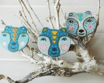 Bear brooch,bear totem ,hand painted wood brooch,woodland