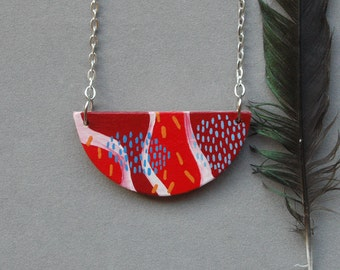 Red geometric necklace,wood necklace,abstract art,hand painted bib necklace