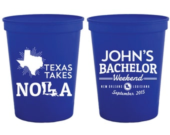 Bachelor Party Cups, NOLA Bachelor Party Gift, Guys Trip Favor, NOLA, Texas Bachelor Party Cups, Grooms Trip Favors, Groomsmen Gifts, 1187