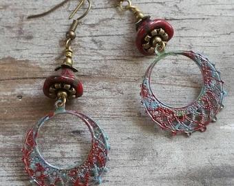 Red Hoop Earrings Green Filigree Bohemian Earrings Multi Colored Earrings