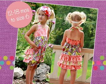 Natalie's Ruffle Bottom Romper PDF Pattern sizes 18 months to 6