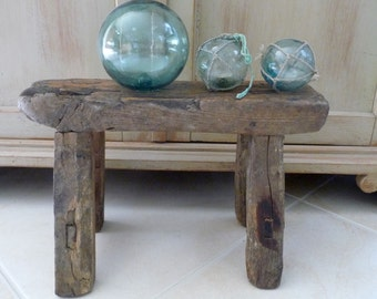 Vintage Stool Asian Wooden Rectangular Rustic Stool Small Bench