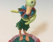 Hula duck , clay and spun cotton figure , decoration or small cake topper