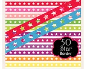 ON SALE, star border clip art, 50 colors, star ribbon digital clip art. B-17,colorful border clip art, instant download
