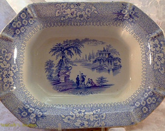 Antique Staffordshire Blue and White Transfer Ware Bowl