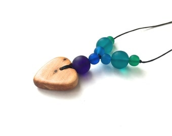 Aphrodite Teething Necklace - Nursing Necklace - Breastfeeding Necklace - Half Rainbow - Purple, Blue, Turquoise, Teal, Green Gradient