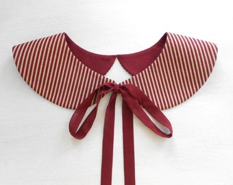 Burgundy and Beige Stripe Detachable Collar Necklace / Handmade Peter Pan Col