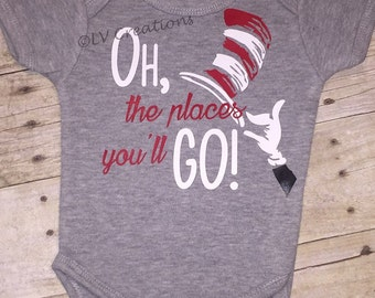 Dr Seuss - Oh the Places You'll Go - Baby Onesie Boy Girl One piece - The Cat in the Hat - Infant - Dr. Seuss