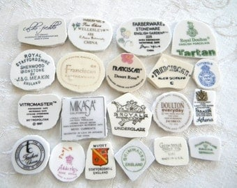 Assortment of Back Stamps for Mosaics - Broken China Mosaic Tiles