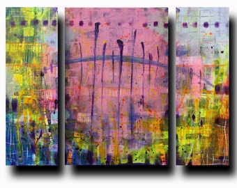 "Art Painting Abstract Acrylic""Pink in Yellow"" 36''x48'' Tryptych (3 canvases: 36""x12""+36""x24""+36""x12""=36''x48'') Acrylic on Canvas"
