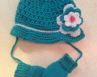 HAT and MITTENS SET, Baby Hat and Mittens, Girls Baby Hat, Mittens, Thumbless Mittens, Newborn/24 Months,