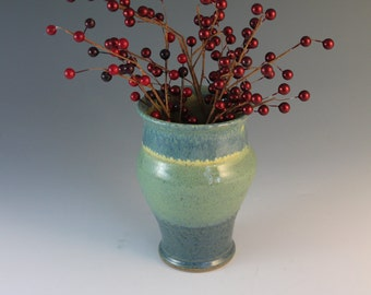 Stoneware Vase - flower vase - yellow green and blue - gift for mom