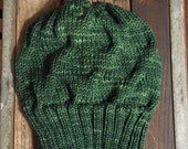 Reserved for ECC: Slouchy Green Hand Knit Hat