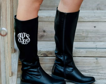Black Initial Boots - Monogram Boots - Fall Boots - Women's Boots - Personalized Boots - Monogrammed Shoes - Monogram Gift - Winter Boots
