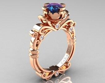 Caravaggio Renaissance 14K Rose Gold 1.0 Ct Alexandrite Diamond Engagement Ring R615-14KRGDAL