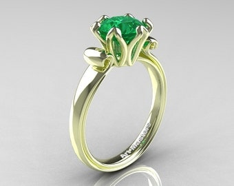 Modern Antique 14K Green Gold 1.5 Carat Emerald Solitaire Engagement Ring AR127-14KGRGEM
