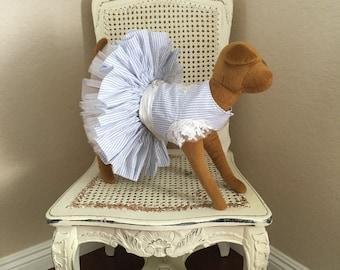 Romance at Nantucket Dog Dress, Light Blue Striped Seersucker