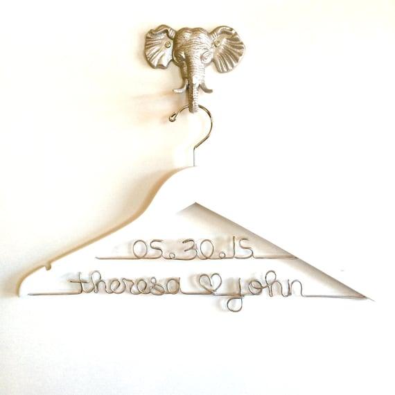 Wedding dress hanger wedding hanger with date for Wedding dress hanger name