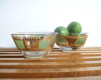 Culver Prado Bowls, Set of 2, Vintage Serving Dishes, Cocktail Bowls, Green Gold Glassware, Mid-Century Hollywood Regency Glass