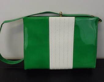 Fab Green and White Patent Leather Handbag