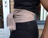 XL-Genuine suede leather taupe, sand colour obi belt, waist cincher, wide waist belt, wrap on belt, japanese style obi, corset belt.