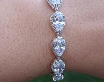 Bridal bracelet, wedding bracelet, cz bracelet, cubic zirconia bracelet, bridal jewelry, Teardrop, wedding accessories, pear cz bracelet