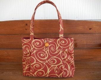 Fabric Handbag Purse Fabric Bag Accessories Women Handbag Pleated bag Large Shoulder Bag in Dark Red with Gold Swirl print