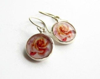 Sterling Silver Pink Rose Earrings, Flower Drop Earrings, Rose Jewelry, Floral Earrings, Picture Jewellery, Womens Gift, Birthday Gift