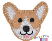 CORGI Puppy Dog Felt Embroidered Embellishment Clippie Cover SET of 4 - Multiple Sets Available