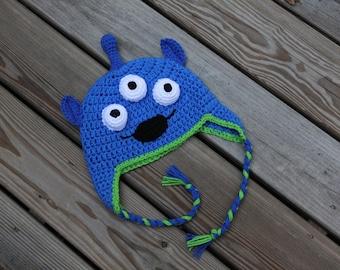 Alien Hat, Toy Story Alien, Toy Story Crochet Hat, Crochet Alien Hat, Space Alien Hat, Little green Men Hat, Monster Hat, Alien Earflap Hat