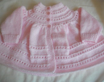 handknitted baby matinee coat 3-6 months Robin 4ply wool in pink