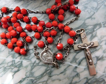Antique French religious beaded catholic rosary necklace red jasper stone beads w cross crucifix w Holy virgin Mary medal, devotional beads