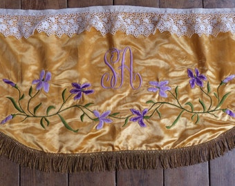1800s silk altar frontal antependium cloth Antique French religious church liturgical fabric monogram w floral embroidery, gold bullion trim