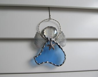 Stained Glass Angel in Sky Blue Water Glass with Starfish Tibetan Silver Charm
