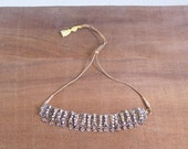 20% CNY SALE - Vintage 80's Indian Chainmail Boho Silver Diamante Charm Choker Necklace