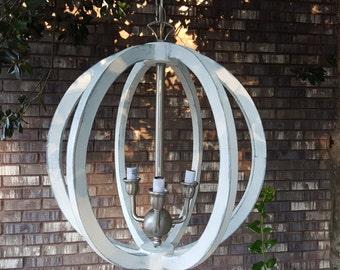 "18"" Distressed Painted White Wood Orb Satin Nickel Chandelier Sphere Wood Chandelier Rustic Farmhouse"