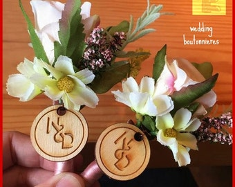Wedding Boutonniere Monogram Wood Tags and Stamp set
