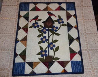 Small Art Quilt, Spring Bluebirds and Berries, Country Wall Quilt, 0222-04