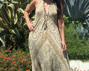 Vintage Indian Dress//Indian Kaftan Dress // Vintage hippie ethnic 70s cotton //Sleeveless Handmade Vintage Caftan//Bohemian hippy