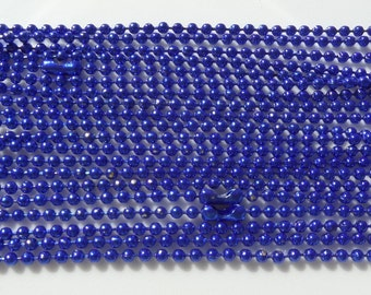 5, 70cm, 2mm, Blue Ball Chain Necklace 2mm with Connector 70cm, 5 piece package includes