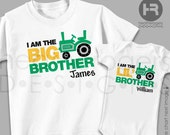 Green Tractor Big Brother Shirt & Tractor Little Brother Shirt - 2 Personalized Sibling Shirts