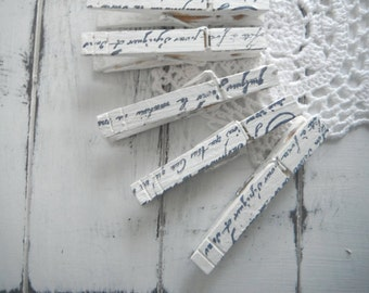 hand stamped clothes pegs photo hanger cottage chic rustic chic cottage country french country clothing pins wedding decor script - 8 count