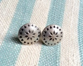 Handmade Vintage Button Earrings. Antiqued Silver Plated. 10mm Diameter.