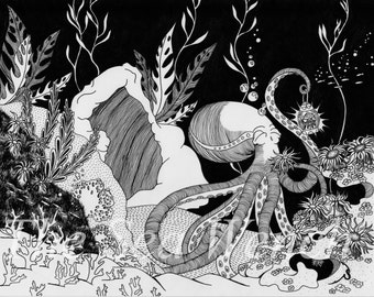 The Octopus's Garden Art Print – Nautical Wall Decor – Birthday Gift – Housewarming Gift – Illustration – Unique Wall Art – Underwater