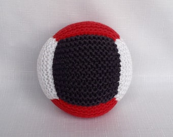 Cotton Baby Ball Rattle - Red and Blue