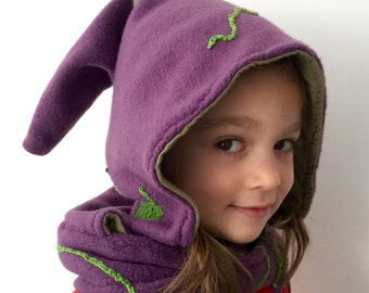 Little Fairy Kid Pointy Hood Infinity Scarf Purple Polar Fleece Kitted Green Details Green Cotton