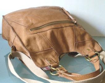 Caramel  Leather Large Messenger Tote Bag